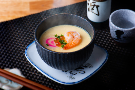 Foto de Japanese steamed eggs with shrimp and other topping. - Imagen libre de derechos