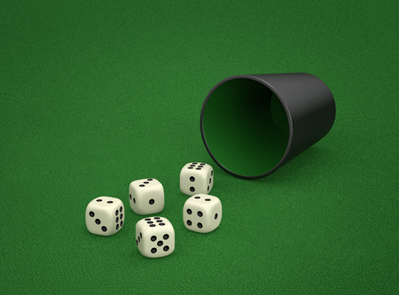Photo pour Dice game with dice cup on green table. Combination of dice - Chance, two pairs of dice. 3D rendering - image libre de droit