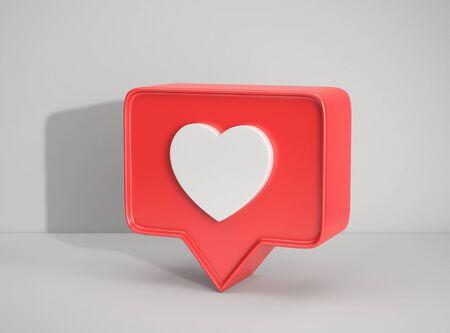 Photo pour Social media notification icon, Like symbol on gray background. 3D rendering - image libre de droit