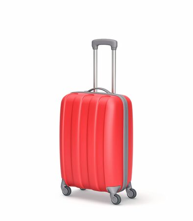 Photo pour Red suitcase isolated on white. 3D rendering - image libre de droit