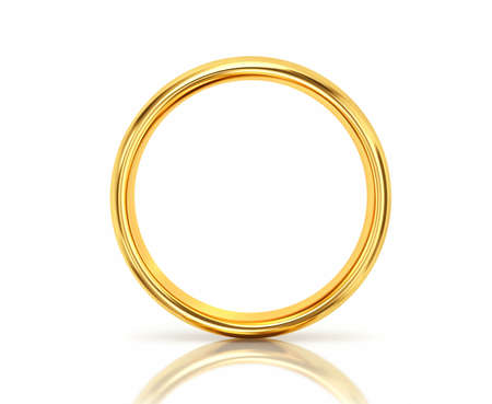 Photo pour Golden ring with reflection isolated on white background. 3D rendering - image libre de droit