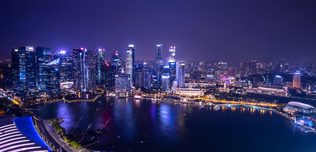 Photo for Cityscape night light view of Singapore skyline at twilight time - Royalty Free Image