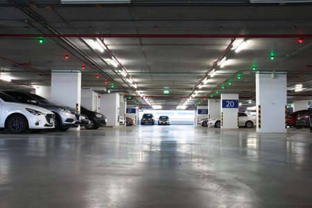 Photo for Smart parking guidance in department store with light overhead. Car lot : 13 October 2020 - Bangkok, Thailand. - Royalty Free Image
