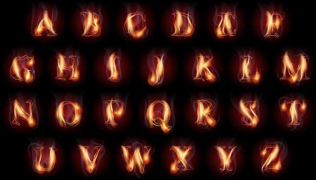 set of fire burning latin alphabet letters