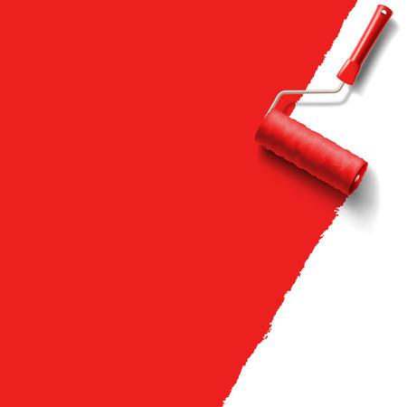 Illustration pour roller brush with red paint - image libre de droit