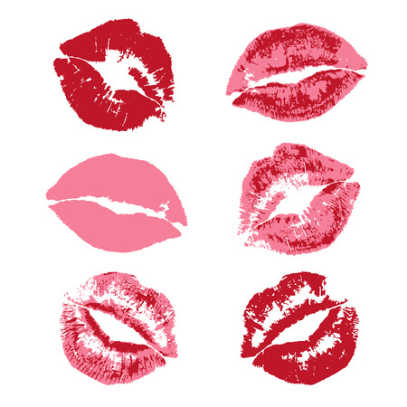 red lipstick kiss print pattern
