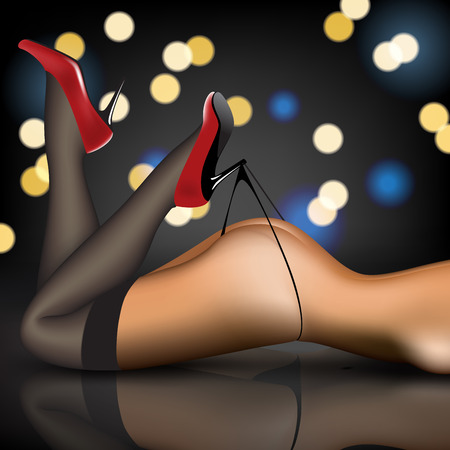 pin-up women's legs in stockings and shoes