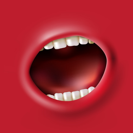 open red screaming mouth background