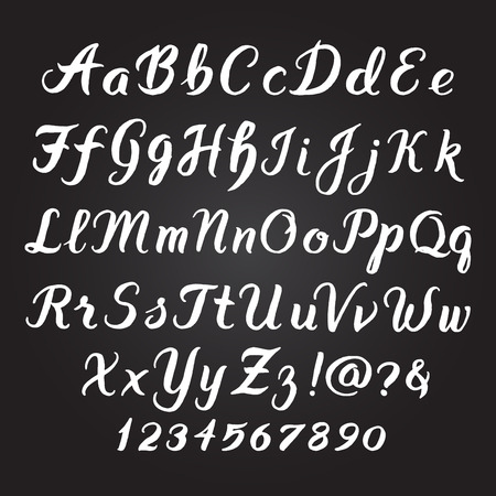 Illustration pour Handwritten alphabet vector font. Hand drawn brush script letters on black background. Stock vector lettering typography - image libre de droit
