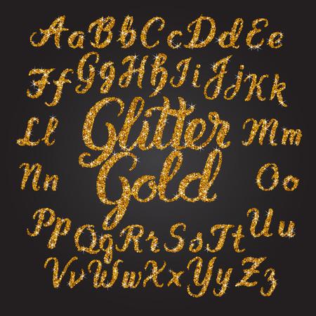 Handwritten Glitter Gold alphabet vector font  Hand drawn brush