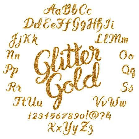 Handwritten Glitter Gold alphabet vector font. Hand drawn brush script letters on black background. Stock vector lettering typography