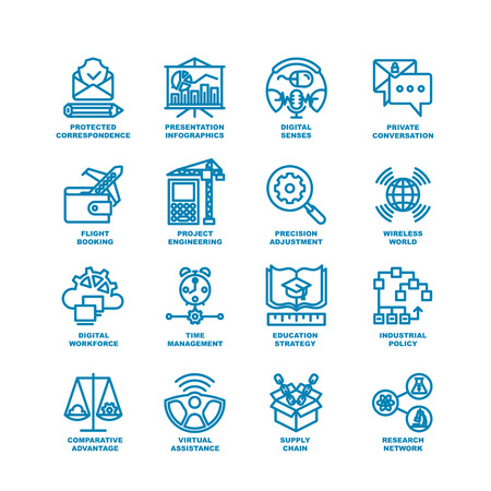 Vektor für Business Line Icons. Modern elements of Research network, supply chain, virtual assistance, industrial policy, education strategy, time management, digital workforce, project engineering - Lizenzfreies Bild