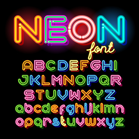 Illustration pour Neon Light Alphabet Vector Font. Neon tube letters on dark background. Uppercase and small case set - image libre de droit