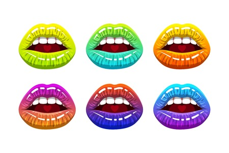 open woman mouth with rainbow color glossy lips and heart on tongue. Vector illustration.