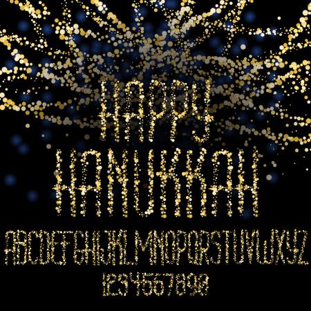 Happy Hanukkah, jewish holiday  Lettering of Hanukkah gold glitter