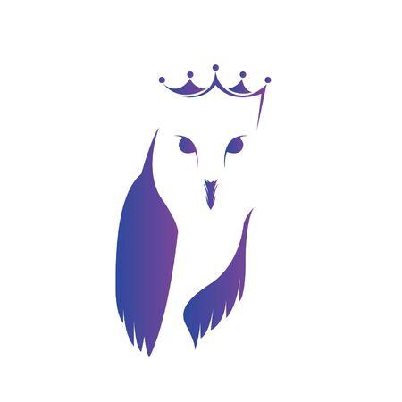 Illustration pour Queen Owl Design Template White Background - image libre de droit