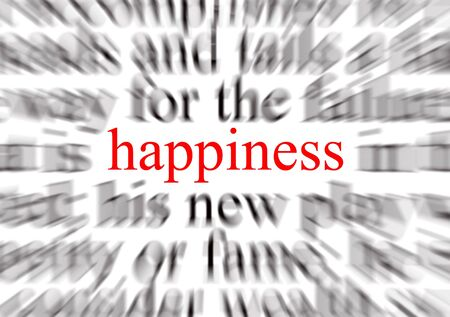 Blurred text with a focus on happiness