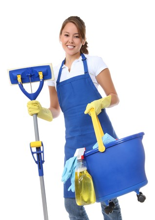 A cute maid cleaner woman with mop and bucket