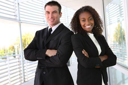 Photo pour A diverse african and caucasian man and woman business team - image libre de droit