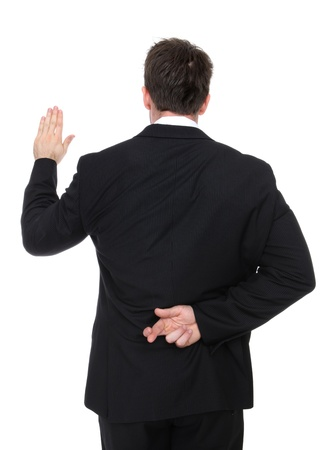 A business man lying while taking an oath