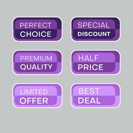 Illustration for Set of discount labels to attract customers' attention. Timeless easy-to-read design. Also suitable for web page ads, tags, discount offer price labels, badges, coupons, flyers etc. - Royalty Free Image