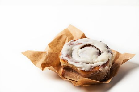 Photo for Home baked cinnamon roll/ cinnabon and on white background - Royalty Free Image