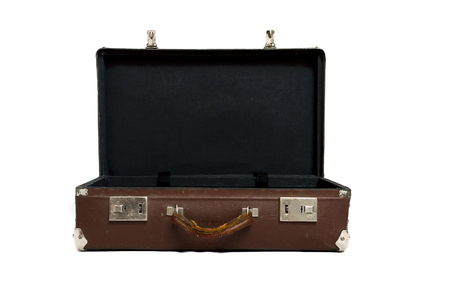 Retro suitcase isolated on the white background.