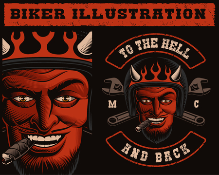 Illustration pour Vector Illustration of a Devil Biker in Helmet with crossed wrenches. Design of a motorcycle patch, also perfect for shirt prints. - image libre de droit