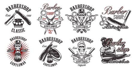 Illustration for Set of illustration in vintage style for barbershop on the white backround - Royalty Free Image