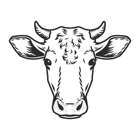 Ilustración de Cow head icon. Outline nand drawn illustration of cow head vector icon for web - Imagen libre de derechos