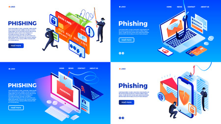 Illustration pour Phishing banner set. Isometric set of phishing vector banner for web design - image libre de droit