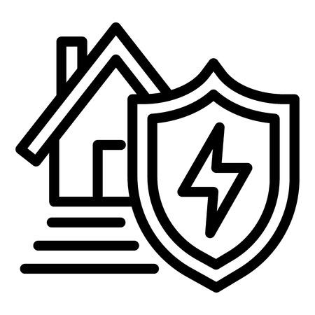 Photo pour Energy house protect icon. Outline energy house protect icon for web design isolated on white background - image libre de droit