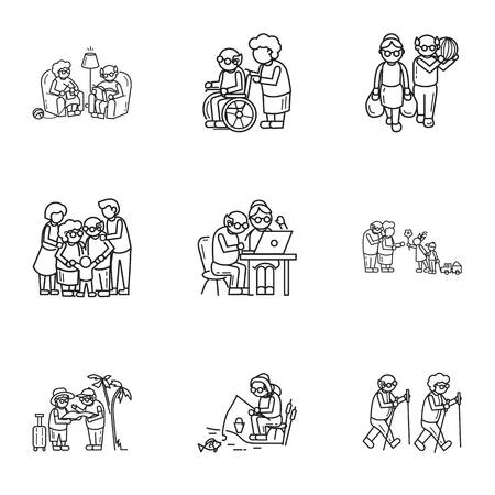 Older person life icon set. Outline set of 9 older person life vector icons for web design isolated on white background