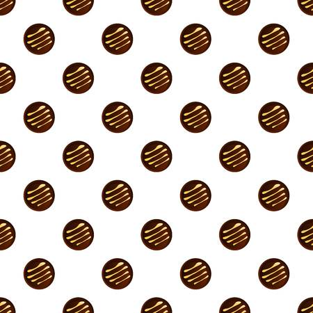 Round chocolate biscuit pattern seamless vector repeat for any web design
