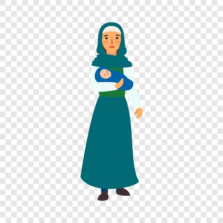Illustration for Immigrant mother baby icon. Flat illustration of immigrant mother baby vector icon for web design - Royalty Free Image