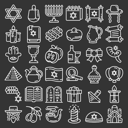 Photo for Hanukkah icon set. Outline set of hanukkah icons for web design isolated on gray background - Royalty Free Image