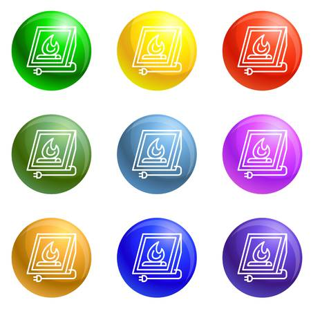 Electric fire plug icons vector 9 color set isolated on white background for any web design