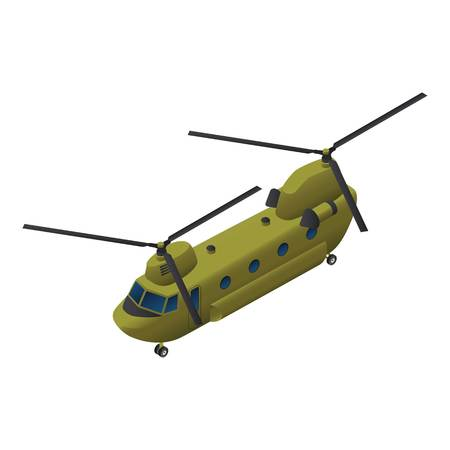 Military transport helicopter icon. Isometric of military transport helicopter vector icon for web design isolated on white background