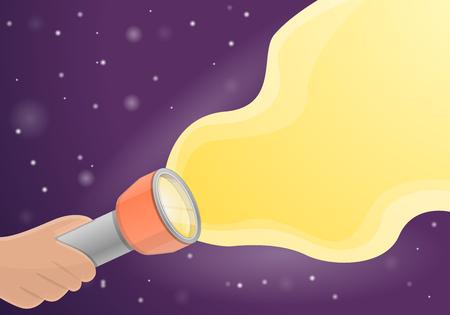 Flashlight concept background. Cartoon illustration of flashlight vector concept background for web design