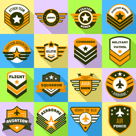 Airforce logo set. Flat set of airforce vector logo for web design