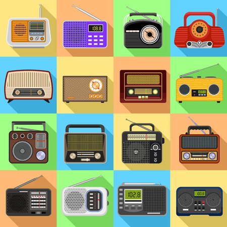 Photo pour Radio icons set. Flat set of radio icons for web design - image libre de droit