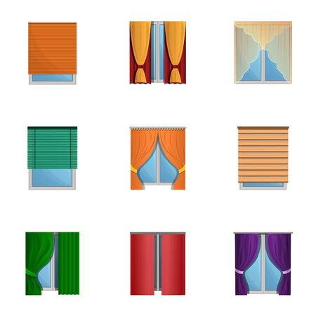 Windows curtains icon set. Cartoon set of 9 windows curtains vector icons for web design isolated on white background