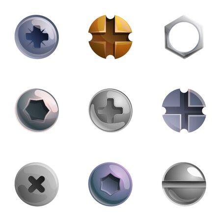 Illustration pour Metal screw head icon set. Cartoon set of 9 metal screw head vector icons for web design isolated on white background - image libre de droit
