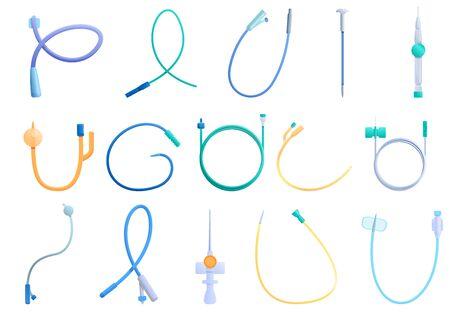 Illustration pour Catheter icons set. Cartoon set of catheter vector icons for web design - image libre de droit