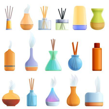 Illustration pour Diffuser icons set. Cartoon set of diffuser vector icons for web design - image libre de droit