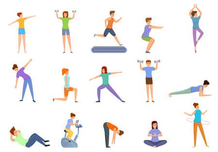 Illustration for Home training icons set. Cartoon set of home training icons for web design - Royalty Free Image
