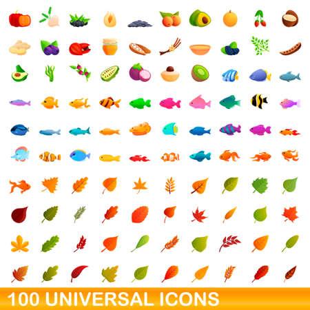 Illustration pour 100 universal icons set, cartoon style - image libre de droit