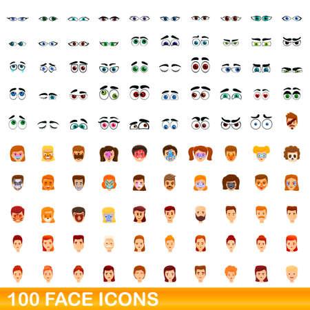 Illustration pour 100 face icons set, cartoon style - image libre de droit