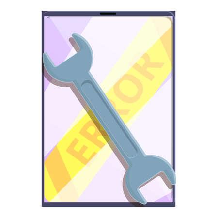 Ilustración de Error key tablet repair icon, cartoon style - Imagen libre de derechos