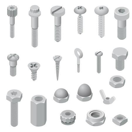 Illustration pour Screw-bolt icons set, isometric style - image libre de droit